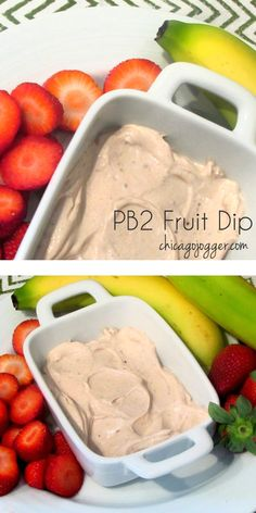 PB2 Fruit Dip - a 2 ingredient, healthy snack recipe | chicagojogger.com