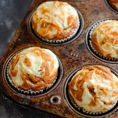 Chase: Pumpkin Cream Cheese Swirl Muffins: my favorite pumpkin muffins ever. You start with a moist spiced pumpkin muffin and top it with swirls of sweet cream cheese that melt into the top as it bakes. They only take 30 minutes to make! Pumpkin Cream Cheese Muffins, Pumpkin Cream Cheeses, Cheese Pumpkin, Pumpkin Bread, Pumpkin Cheesecake Muffins, Healthy Pumpkin Muffins, 2 Ingredient Pumpkin Muffins, Cream Cheese Breakfast, Cream Cheese Topping