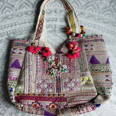 Banjara bag with tassels and pom-poms by TheFoxAndTheMermaid