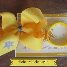 Every Charlie bow comes with motivational postcard and matching wristband.  Bonus!  #bows #charliebows #boutiquebows #motivational #cheerchickcharlie