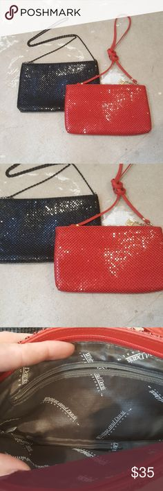 """VTG Evening Shoulder Bags I am selling 2 VTG Evening Bags.  These """"pick up light"""" beautifully and have a chain mail type outer, not quite sequins, not quite metal, really cool!!  These would be sensational for your holiday cocktail parties and are a perfect size to fit all you need!  Excellent condition, the red is Whiting and Davis brand the black is unbranded.  you can carry as a clutch or a mini shoulder bag. Whiting & Davis Bags Mini Bags"""
