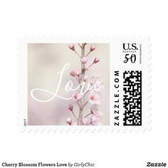 Cherry Blossom Flowers Love Postage