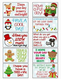 Christmas Lunchbox Notes plus 31 Christmas Printables on Frugal Coupon Living