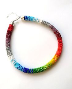 Rainbow Necklace, Ethnic Bead Crochet Necklace, Colorful Rope Necklace, Tribal Necklace, Ethnic Beadwork
