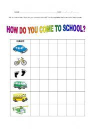 English worksheet: enquiry - how do you come to school?