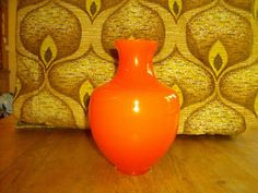 vintage retro murano orange glass vase 1970s 1960s 50s