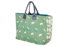 The perfect green and white summer get away tote!
