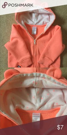 Gymboree hooded zip sweater Gymboree full zip sweater with cute ears on the hood, worn once, still super soft. Small yellowish spot on inside of hood as second photo shows, may wash out. Gymboree Shirts & Tops Sweatshirts & Hoodies