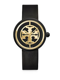 Tory Burch - Reva Goldtone Stainless Steel & Leather Strap Watch/Black