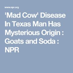 'Mad Cow' Disease In Texas Man Has Mysterious Origin : Goats and Soda : NPR