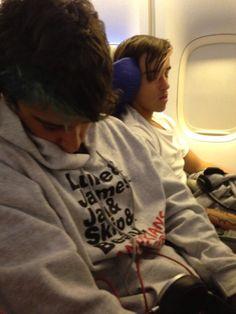 Beau and luke sleeping on the plane xxx
