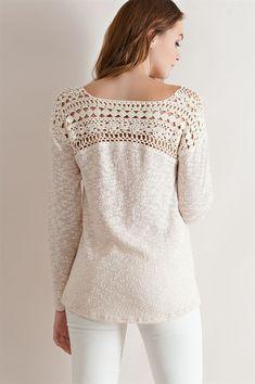 Crochet Shirt Crochet Lace Yoke Sweater - Natural by krystal Crochet Yoke, Crochet Fabric, Crochet Collar, Crochet Blouse, Crochet Clothes, Diy Clothes, Crochet Designs, Crochet Patterns, Lingerie Look