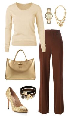 """""""Autumn Browns."""" by marykatetus on Polyvore featuring Oscar de la Renta, Chloé, Charlotte Olympia, Longchamp and Marc by Marc Jacobs"""