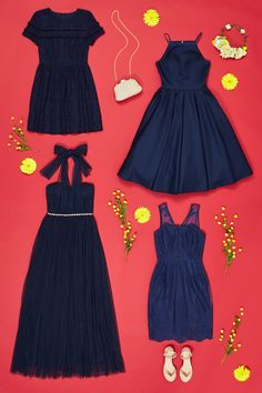 Bridesmaids in every shade! Find midnight and navy dresses for your bridal party.
