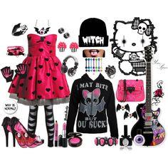 """""""Bubblegum bat✙.¸¸. ✶ ✪ *☽ ✪ ☾"""" by goth-dolly on Polyvore"""