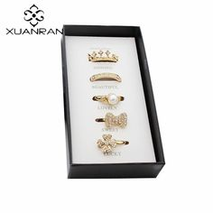 XUANRAN 5 pcs Fashion Rings Set With Free Gift Imitation Pearls Bowknot Crown Ring Finger Ring for Women Jewelry