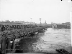 Group on a bridge over Whanganui River in flood, Photograph taken by Frank J Denton. Maui, New Zealand, New York Skyline, Bridge, Photograph, River, Group, History, Photography