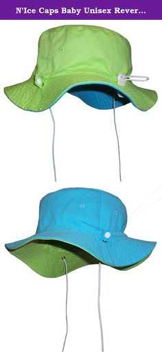 "N'Ice Caps Baby Unisex Reversible and Adjustable Cotton Twill Aussie Sun Hat (52cm (20.5"") 18-36mos, Neon Green/Neon Blue). Sun Caps by N'Ice Caps unisex baby reversible cotton twill Aussie style hat with adjustable draw cord in back to allow hat to fit 3 size ranges. Easy to adjust elastic shoe string tie draw cord with lock adjusts up and down to fit 3 size ranges within the recommended age group. Elastic shoe string ties are also adjustable. Great hat for sun protection. Easy to pack...."