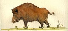 "Wild boar pig hog hunt bad ugly grass forest animal 8x4"" 21x9.5 cm art original Watercolor painting by Juan bosco"