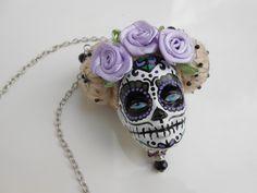 """Sautoir tête de Barbie crâne mexicain """"La douce Violette"""" : Collier par jennifleur"""