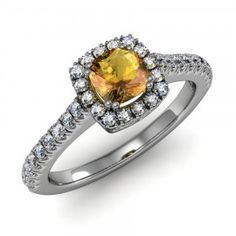 Cushion Citrine & Diamond Halo Ring set in 18K White Gold. (5x5mm)