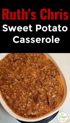 Make the best Ruth's Chris Sweet Potato Casserole recipe for your next holiday dinner. Topped with pecans and brown sugar. Perfect comfort food for Thanksgiving, Christmas, and Easter. Best Sweet Potato Casserole, Sweet Potato Souffle, Sweet Potato Pies, Recipes For Sweet Potatoes, Thanksgiving Sweet Potato Recipes, Yam Casserole, Cabbage Casserole, Thanksgiving Meal, Fall Recipes
