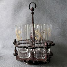 Antique c1890 Cut Glasses in Treen Caddy, Cut Glass Tumblers, Whiskey Glasses