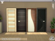 Created for: The Sims 4You want wooden doors modern new for your interior?Here are 4 all modern wood, perfectly functional. Four in 1 file. You can find in 'doors' in the game. If you have problems finding it , write the name of the object in the bar 'look/search' and you'll see it appear in doors.^^Created only for the lower height of the walls.I hope you like it, happy simming^^Download