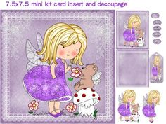 lavender fairy and bear mini kit on Craftsuprint designed by Cynthia Berridge - lavender fairy and bear mini kit card insert and decoupage - Now available for download!