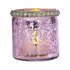 Light Purple Mercury Glass Tealight Holder (straight with rhinestones)