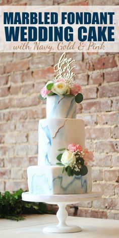 This Marbled Fondant Wedding Cake with Navy, Gold and Pink is a beautiful, modern, elegant design.  With the marbled effect, you can easily incorporate any color into your cake and end up with a stunning cake that reflects your personality and style. #wed