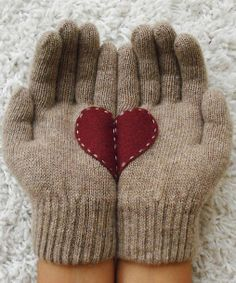 Too Cute !   Beige Heart Gloves   Sew a heart on your  one size fits all gloves !