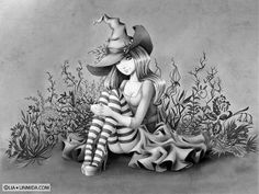 Gothic Coloring Pages For Adults : Mermaids fairies fantasy coloring books for grown ups adults
