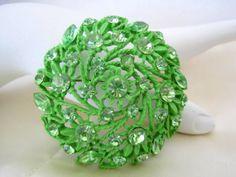 Vintage Green Enamel Rhinestone Flower  Brooch by VintagObsessions, $22.00