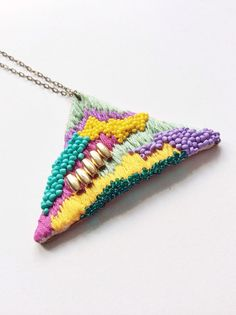 Hand embroidered Triangle Necklace / Mint Purple by jujujust