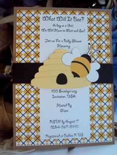 Bee Invitation Bumble Bee invitationWhat will it by TooCuteInvites, $30.00