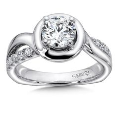 CR145W - Halo Diamond Engagement Ring in 14K White Gold with Platinum Head (0.34ct. tw.)