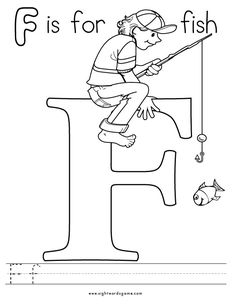 F for fish coloring page with handwriting practice for Pout pout fish pdf