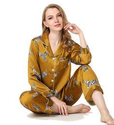 Womens Fashion Printed Golden Silk Pajama Set Nightwear 437e0e760