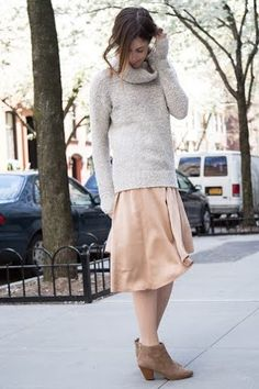 Play with proportion -- Chunky knits and midi skirts | keatonrow.com