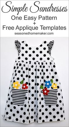 Girl's Easy to Sew Sundress with Appliqué. Get these FREE appliqué designs by clicking over to my site! #applique #howtoapplique #girlssundress #easygirlsdresspattern #girlssimplesundress | seasonedhomemaker.com