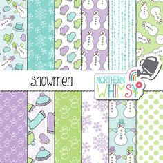 "Winter Digital Paper - ""Snowmen"" - seamless patterns in lavender, mint, and pastel blue - snowman scrapbook paper - commercial use"