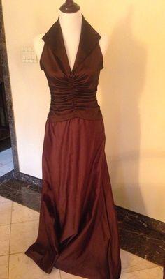 TADASHI Brown Ruched Taffeta Collared V-Neck Satin A-Line Evening Gown  #Tadashi #BallGown #Formal