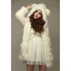 Cute Bear Ear Design Hooded Long Sleeves Women's White Faux Fleece Coat, WHITE, M in Jackets & Coats   DressLily.com