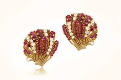 Van Cleef and Arpels Paris Earrings with Diamonds and Rubies, featuring beautiful gold wire work, and spring backs. Gold Wire, Jewelry Collection, Diamond Earrings, Fan, Hand Fan, Diamond Drop Earrings, Fans