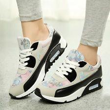 Moda Para Mujer Floral Casual Deportivos Con Encaje Wedge Sneakers Running Zapatos  Para Caminar Zapatos Deportivos 4d07588d1ac0d