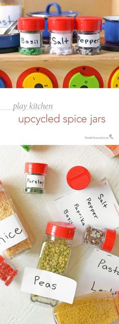 Play Kitchen Upcycled Spice Jars – Give your empty spice jars a new life with this fun craft for kids that will encourage conservation and imaginative play! Kids Play Food, Play Kitchen Food, Diy Kids Kitchen, Kitchen Ideas, Pretend Kitchen, Play Kitchens, Fun Crafts For Kids, Diy For Kids, Kid Crafts