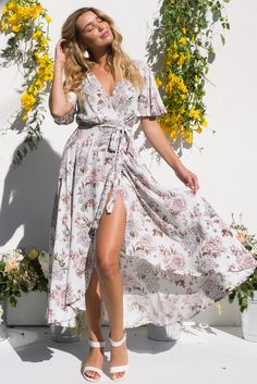 Shop the romantic Petal Meringue Cream Floral Print Flutter Sleeve Maxi Wrap Dress at Mombasa Rose Designed in Australia by Mombasa Rose Wrap Dresses, Maxi Wrap Dress, Cute Dresses, Ootd Fashion, New Fashion, Fashion Outfits, Australian Boutique, Mombasa, Rose Boutique