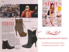 "Peep-show: RosaRot's Ciel-2 olive and Cara-1 nero of the autumn/winter 2014 collection ""3xaDiva"" and ""Northern Lights""! Feat. in The Shoes Magazine (Germany)"