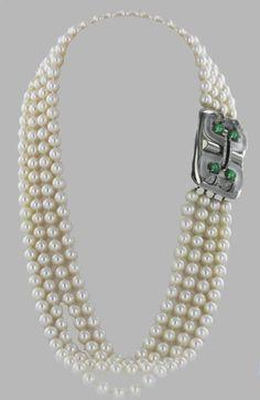 5e653e71c SEAMAN SCHEPPS 1930s Art Deco Pearl Necklace with Diamond and Emerald  Clasp. Art Deco Necklace